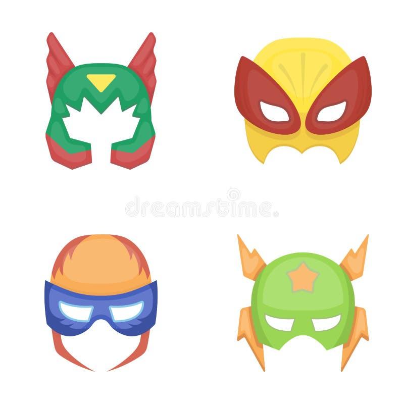 Maschera sulla testa, casco Le icone stabilite della raccolta dell'eroe eccellente della maschera nello stile del fumetto vector  illustrazione di stock