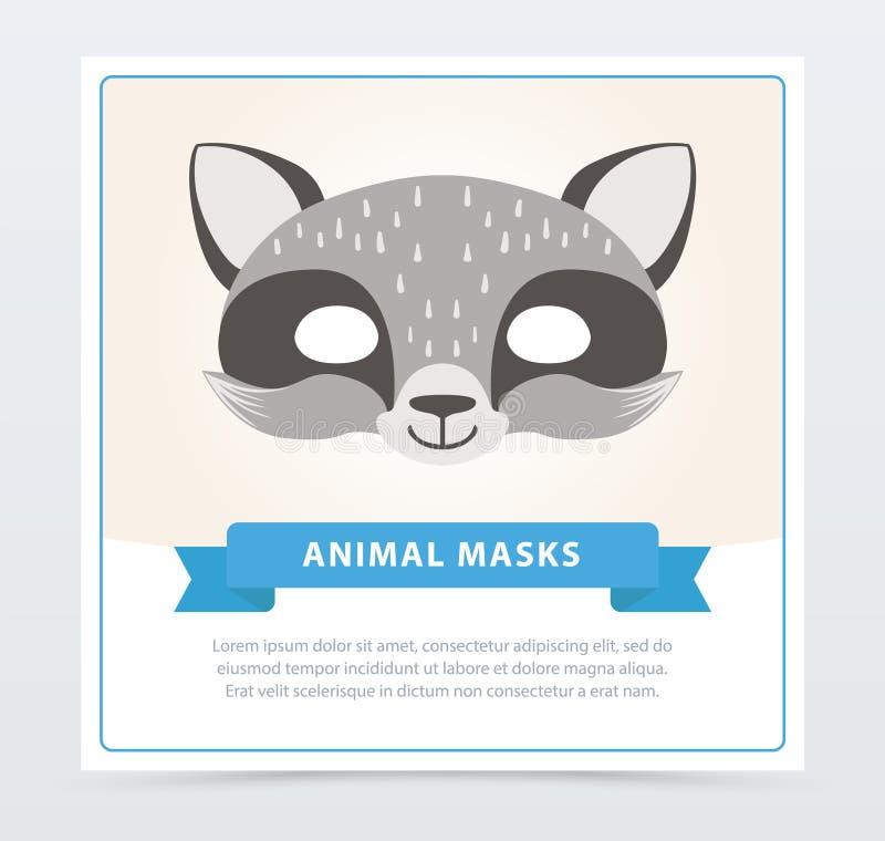 Maschera sveglia di carnevale del procione Accessorio di travestimento dei bambini s Museruola animale di s Progettazione piana d illustrazione vettoriale