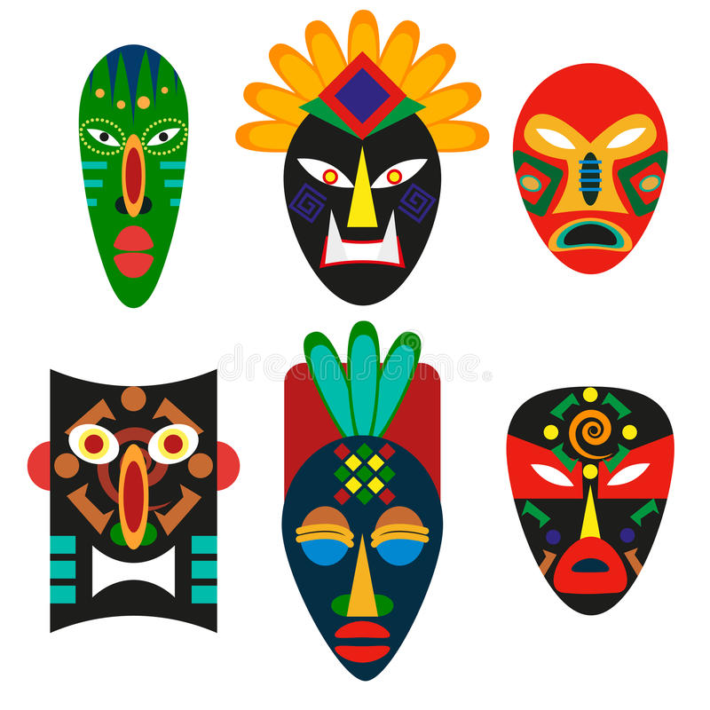 Maschera tradizionale delle tribù africane Maschera religiosa degli sciamani o del voodoo Decorazione decorativa antica Cultura e illustrazione di stock