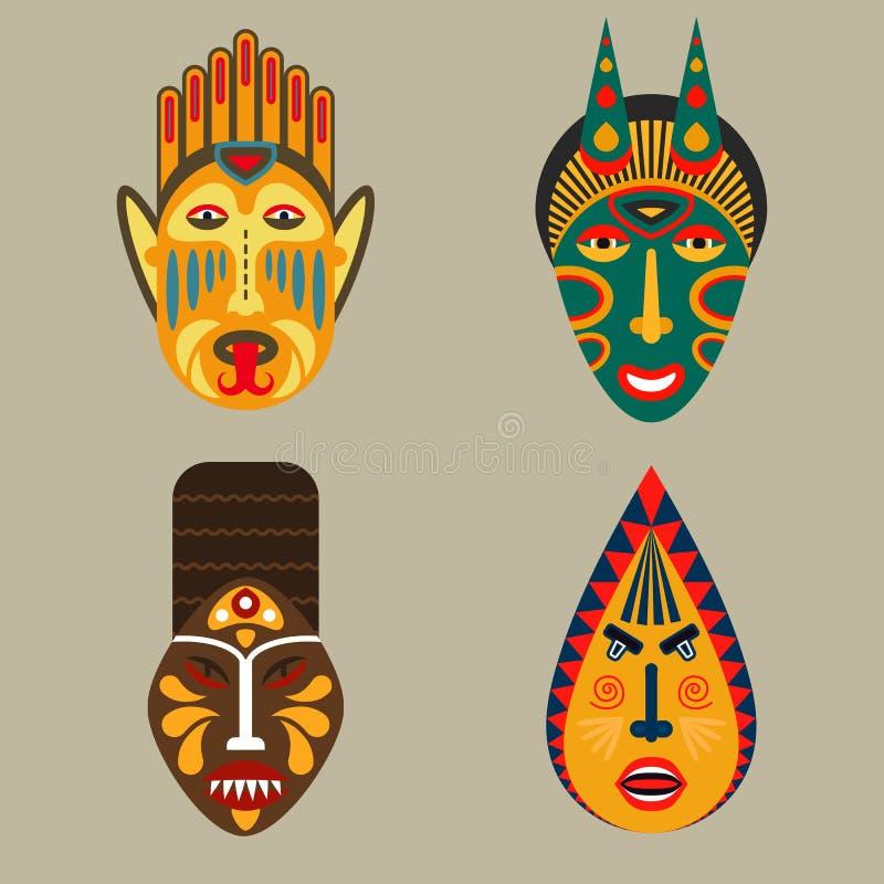 Maschera tribale africana messa nello stile piano illustrazione di stock