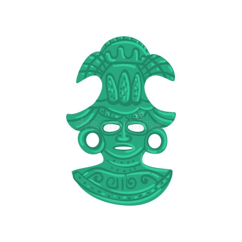 Maschera tribale della pietra, simbolo di civilizzazione di maya, illustrazione tribale americana di vettore dell'elemento della  royalty illustrazione gratis