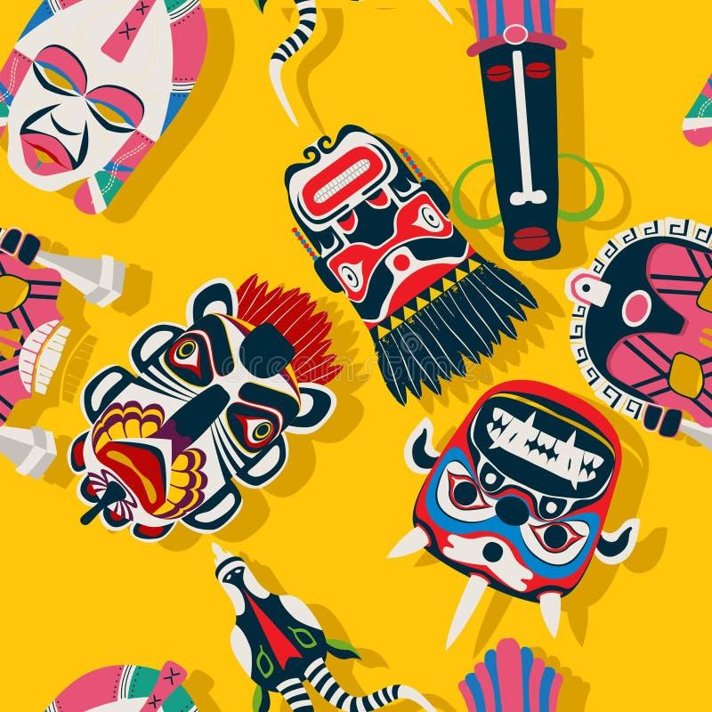 Maschera tribale etnica illustrazione vettoriale