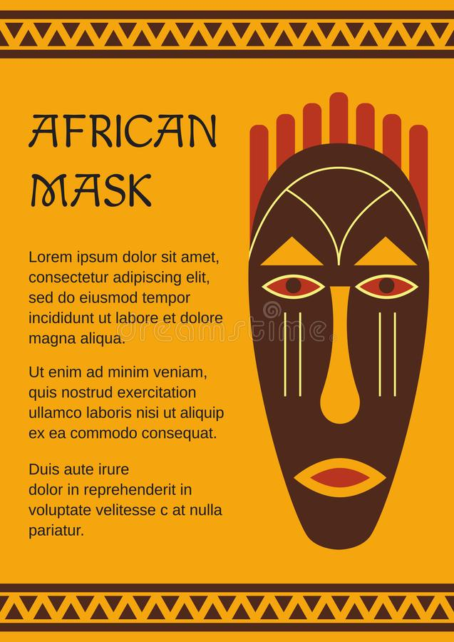 Maschera tribale, etnica, decorativa, africana illustrazione vettoriale