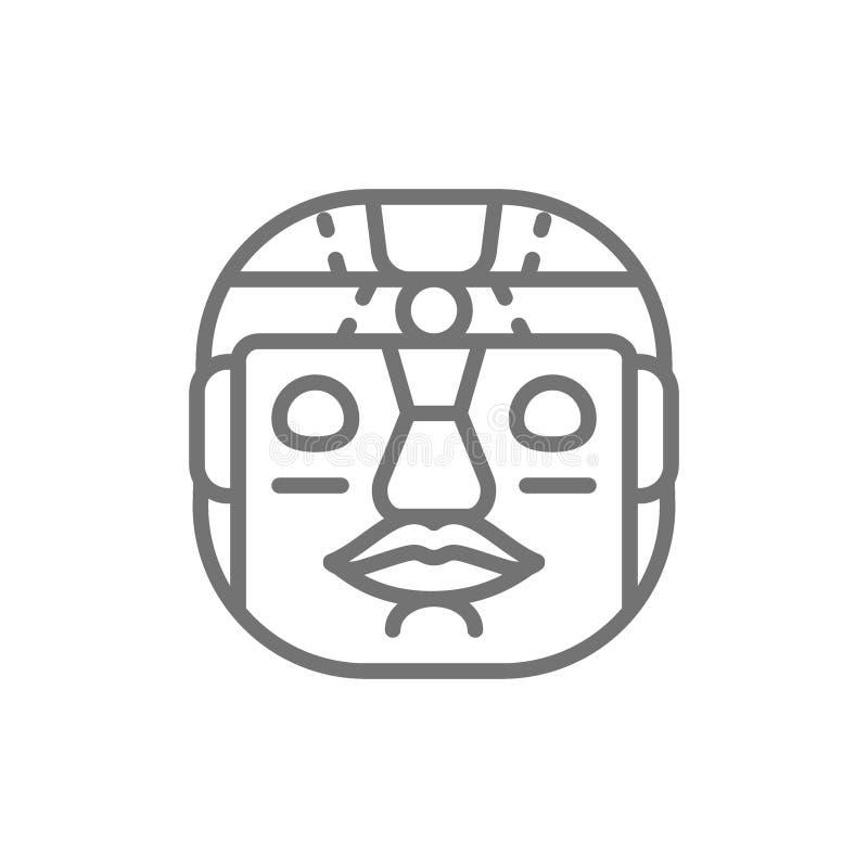 Maschera tribale etnica, linea maya e azteca icona illustrazione di stock