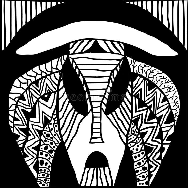 Maschera tribale etnica sciamani indigeni della maschera rituale tradizionale delle tribù antiche e del voodoo Africa, America ed illustrazione vettoriale