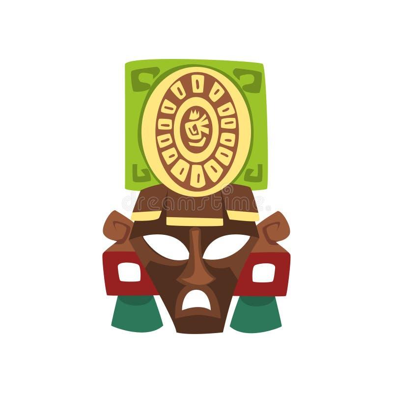 Maschera tribale, simbolo di civilizzazione di maya, illustrazione tribale americana di vettore dell'elemento della cultura su un royalty illustrazione gratis