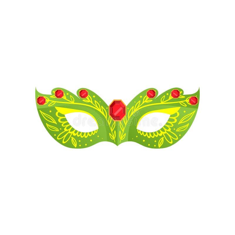 Maschera veneziana di colore verde con la gemma rossa dell'oro royalty illustrazione gratis
