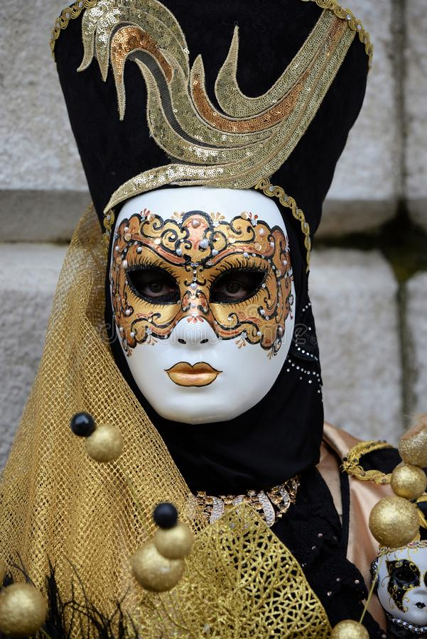 Maschera veneziana meravigliosa a Venezia, carnevale immagine stock