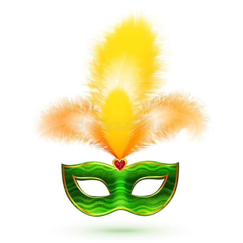 Maschera verde di carnevale di vettore con le piume gialle illustrazione vettoriale