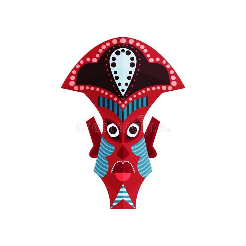 Maschera zulù con l'ornamento tradizionale Cultura etnica aborigena Attributo rituale della gente africana indigena piano royalty illustrazione gratis