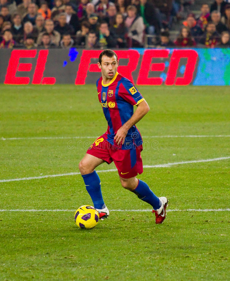Mascherano (FC Barcelona). BARCELONA - DECEMBER 13: Nou Camp stadium, Spanish League match: FC Barcelona - Real Sociedad, 5 - 0. In the picture, Mascherano in royalty free stock images