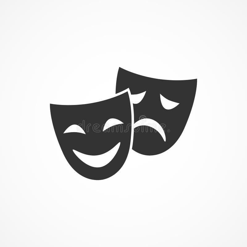 Maschere del teatro dell'icona di immagine di vettore Indicatore luminoso di vettore art royalty illustrazione gratis