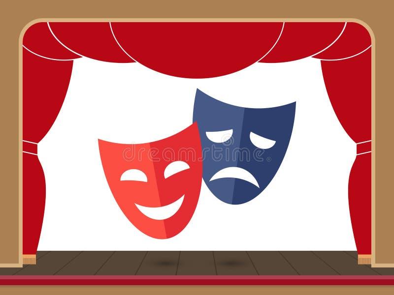 Maschere del teatro sulla fase del teatro con una tenda aperta illustrazione di stock