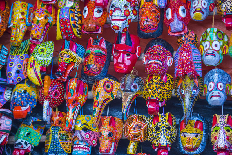 Maschere di legno maya fotografia stock libera da diritti