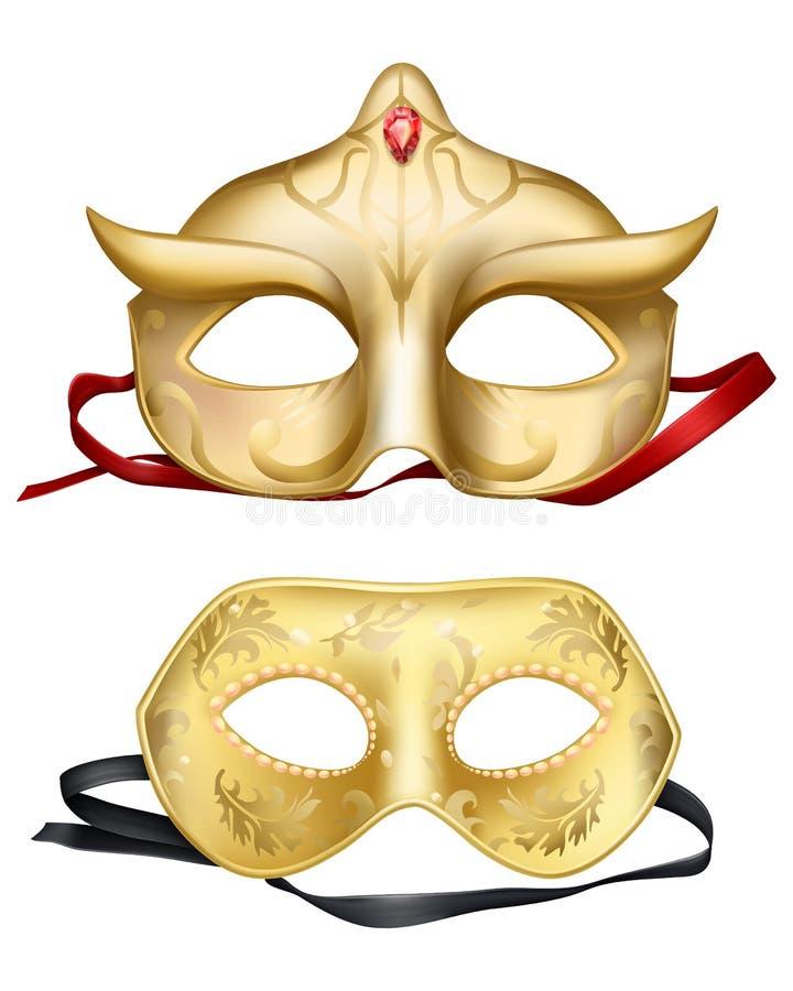 Maschere di protezione realistiche di vettore 3d, carnevali veneziani royalty illustrazione gratis