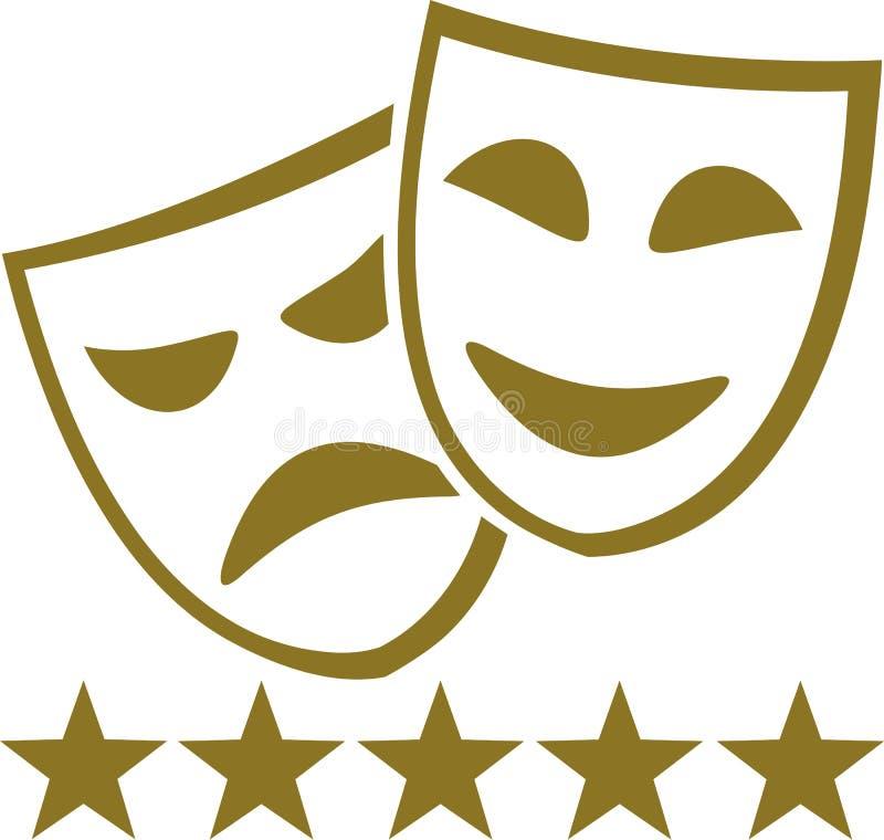 Maschere dorate del teatro con cinque stelle royalty illustrazione gratis