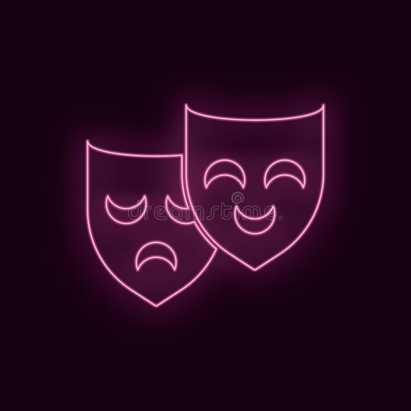Maschere teatrali, neon, icona Icona al neon del ux di ui di colore vermiglio del teatro Vettore di logo del segno del teatro - v illustrazione vettoriale