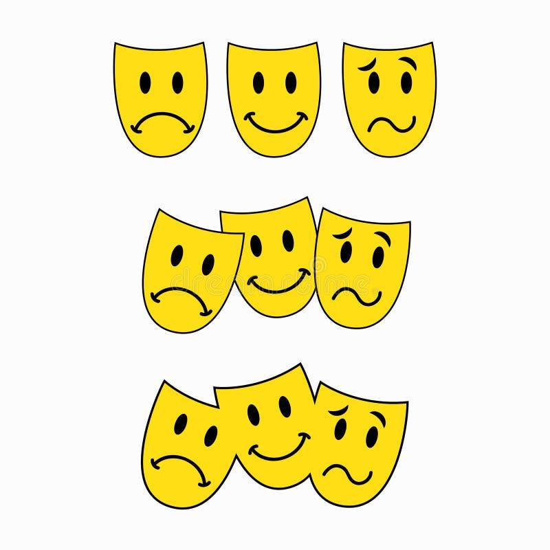 Maschere teatrali, tre smiley, autoadesivo dell'emoticon illustrazione vettoriale