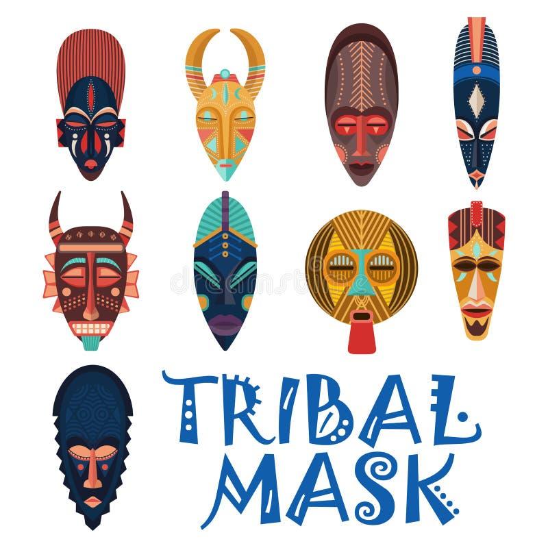 Maschere tribali per lo sciamano africano o il voodoo illustrazione di stock