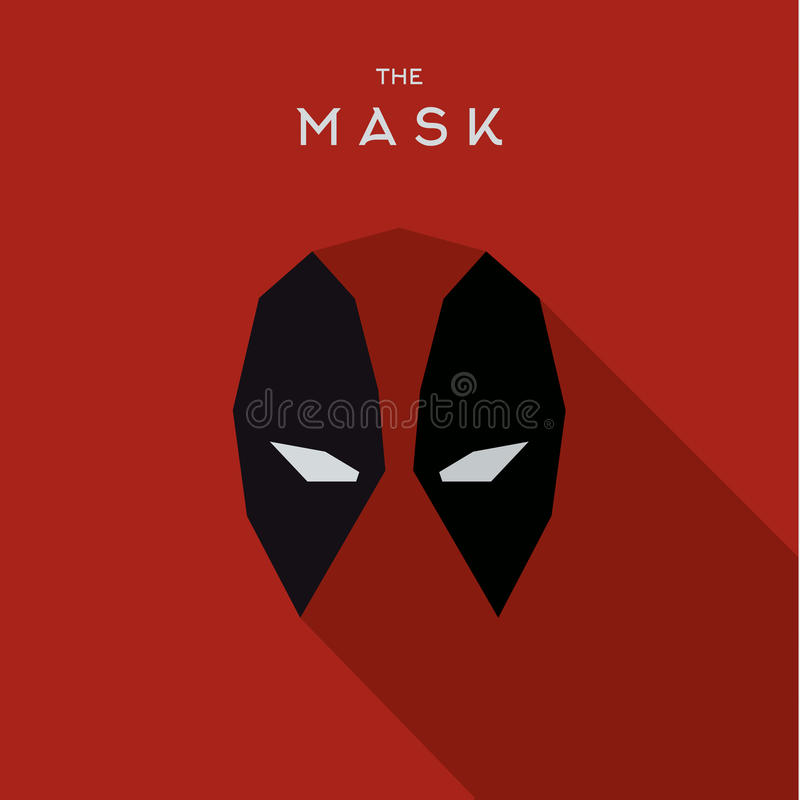 Mascheri il logo piano di vettore dell'icona di stile del supereroe dell'eroe fotografia stock libera da diritti