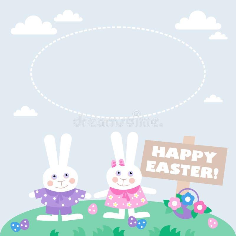 Carta con le uova di Pasqua ed i coniglietti royalty illustrazione gratis