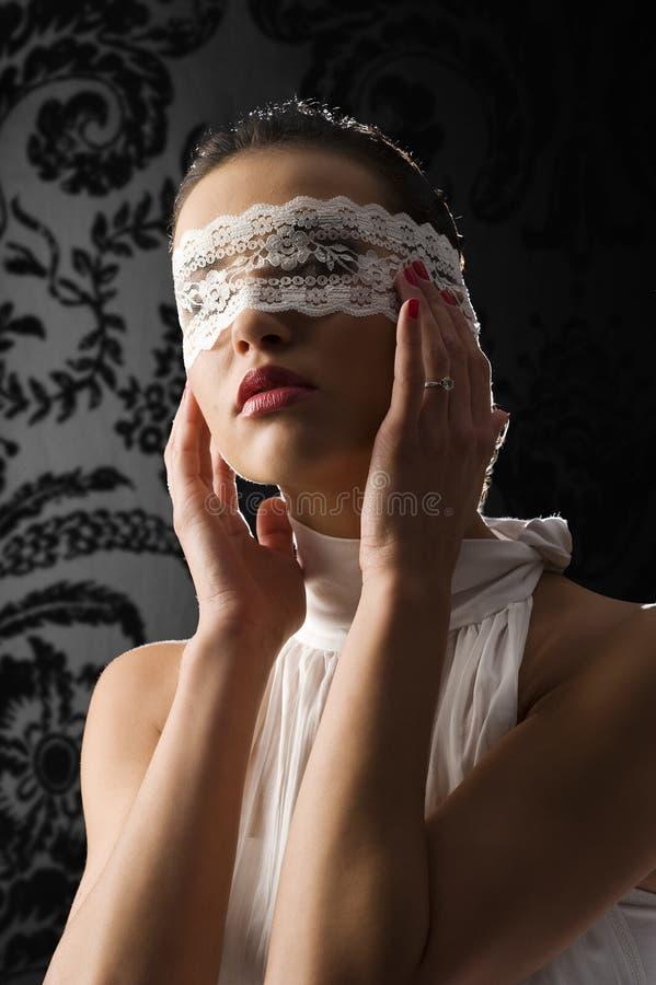 Mascherina e merletto bianco fotografia stock libera da diritti