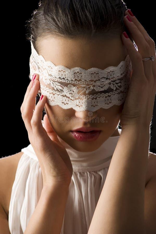 Mascherina e merletto bianco fotografie stock