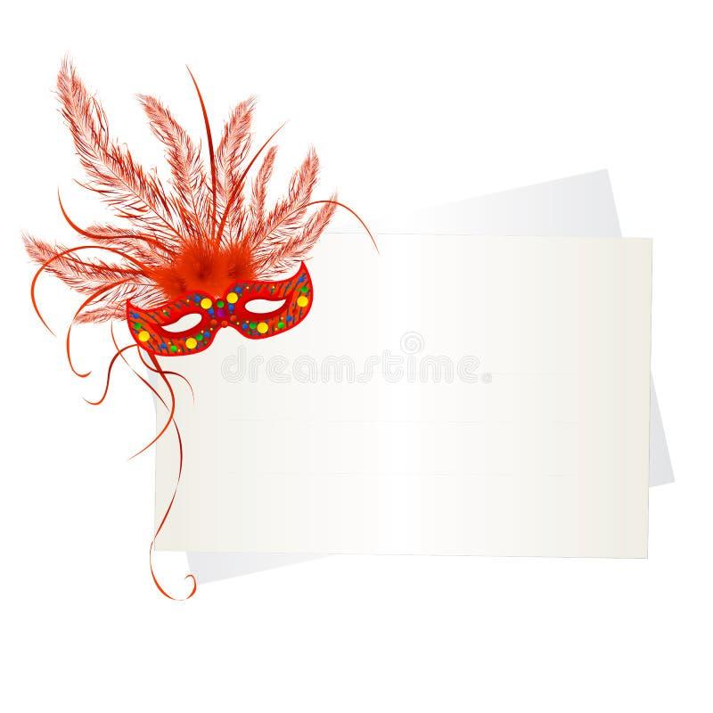 Mascherina e scheda di Mardi Gras illustrazione di stock
