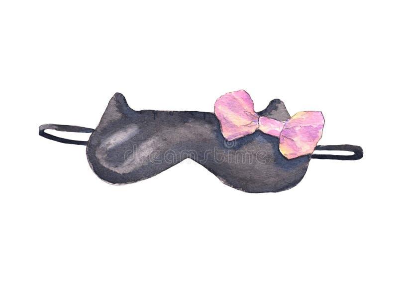 Mascherina nera di sonno illustrazione di stock