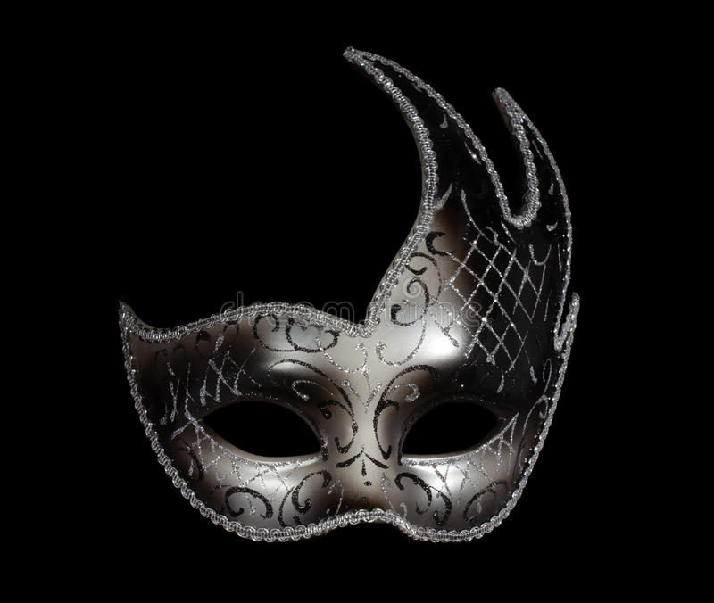Mascherina veneziana classica d'argento sul nero fotografia stock
