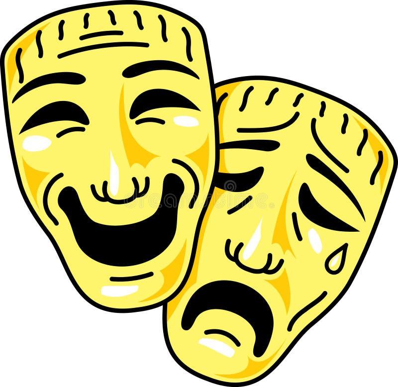 Mascherine di commedia e di tragedia del teatro illustrazione di stock
