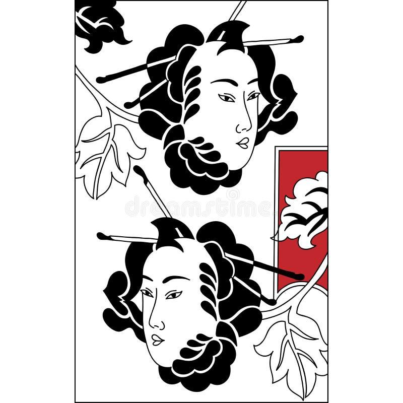Mascherine giapponesi del Theatrical di Tsure Noh Insieme di vect in bianco e nero illustrazione di stock