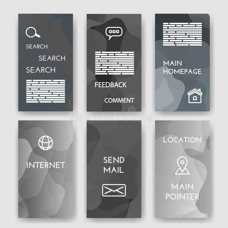 mascherine Insieme di progettazione del web, posta, opuscoli Internet e concetto di Infographic Piano e linea moderni icone web a illustrazione di stock