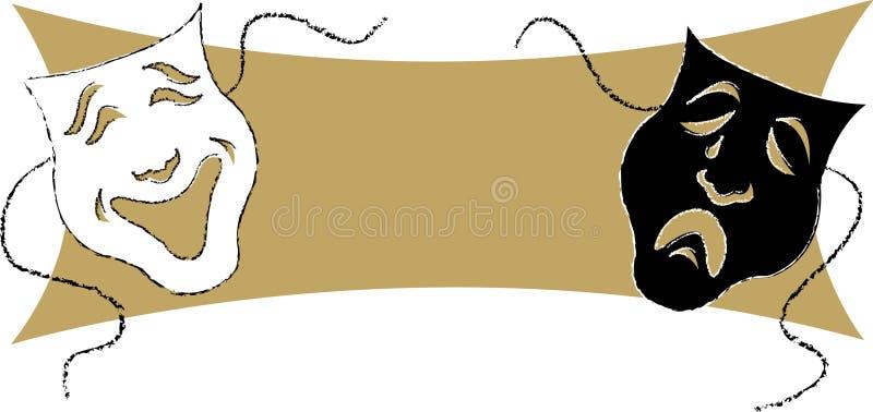 Mascherine/Playbill/ENV di dramma illustrazione di stock