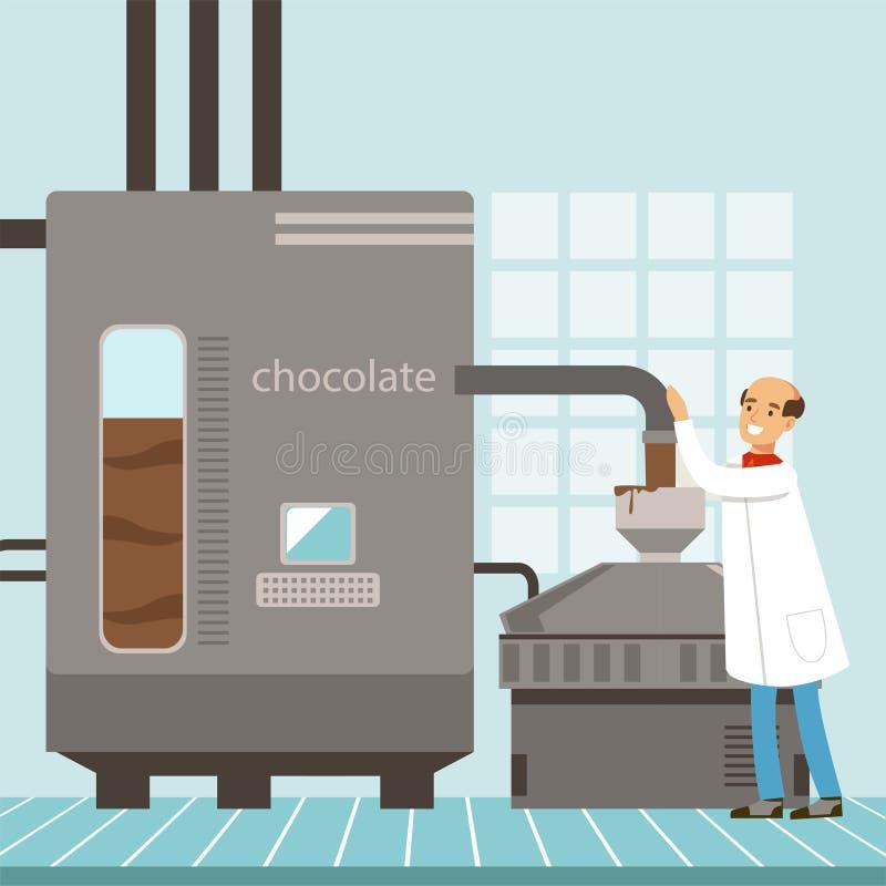 Maschine für die Produktion der Schokolade, Konditor, der die Produktionsverfahrenvektor Illustration steuert lizenzfreie abbildung