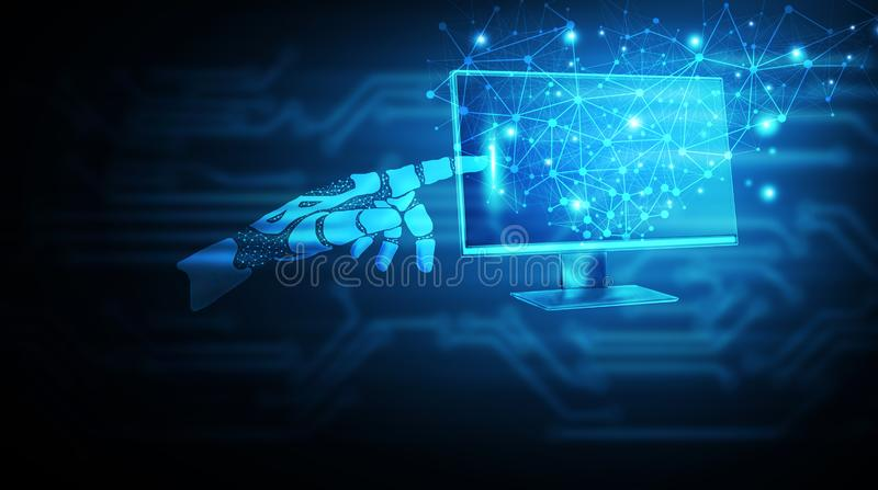 Maschinelles Lernen Roboterhand, die den Bildschirm berührt vektor abbildung