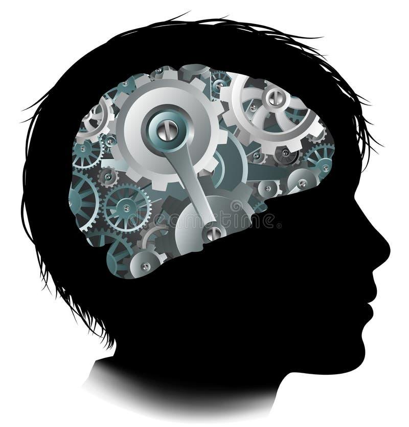 Maschinen-Funktions-Gang-Zähne Brain Child Concept lizenzfreie abbildung
