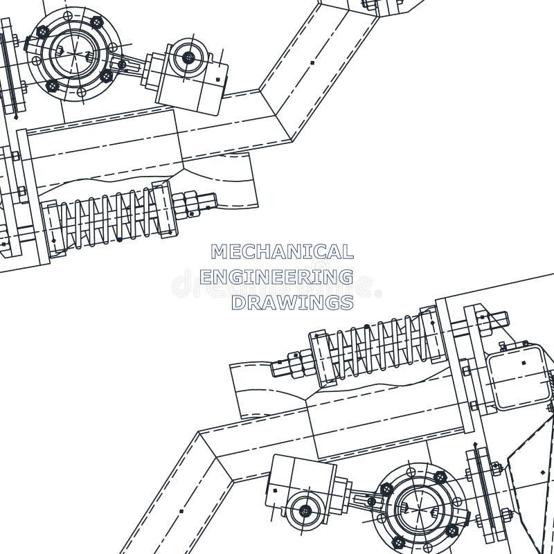 Maschinenbau die Zeichnung Technische Abbildung lizenzfreie abbildung