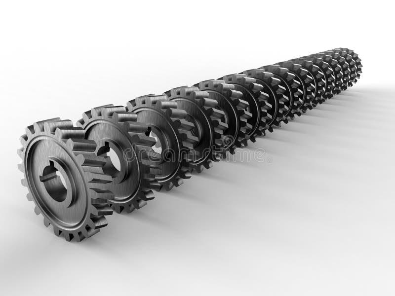 Maschinengänge vereinbart in einer Linie stock abbildung