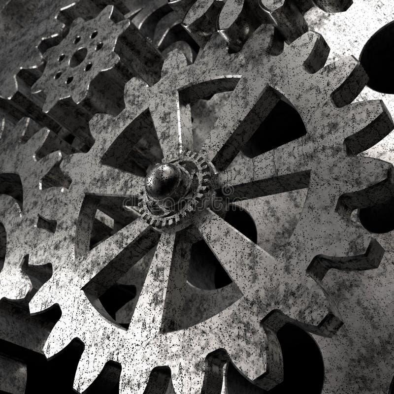 Maschinengangräder, industrieller Hintergrund 3d lizenzfreie abbildung