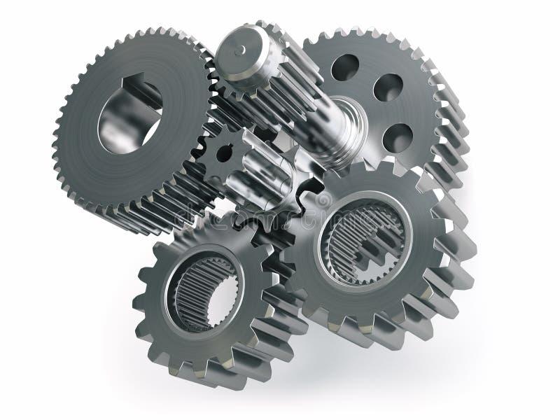 Maschinengangräder und Zahnräder lokalisiert auf weißem Hintergrund vektor abbildung
