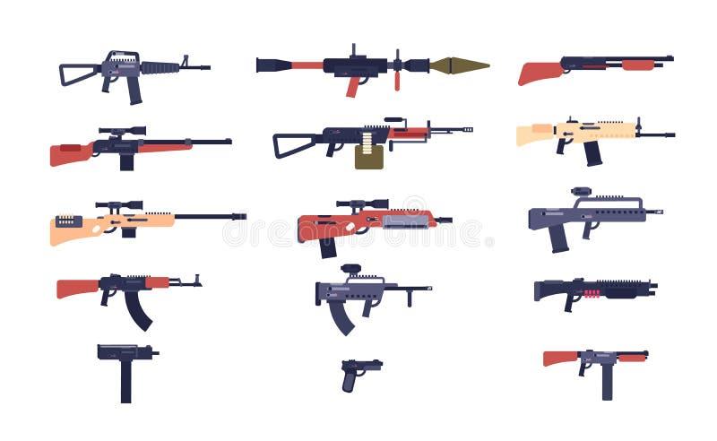 Maschinengewehre Kampfspielwaffen Pistole, Schrotflinte und Abschussrampe, Gewehre Karikaturvektor-Gewehrsammlung stock abbildung