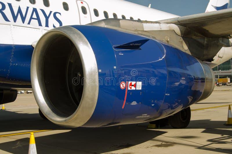 Maschinenhaube BA Airbusses A319 stockbild