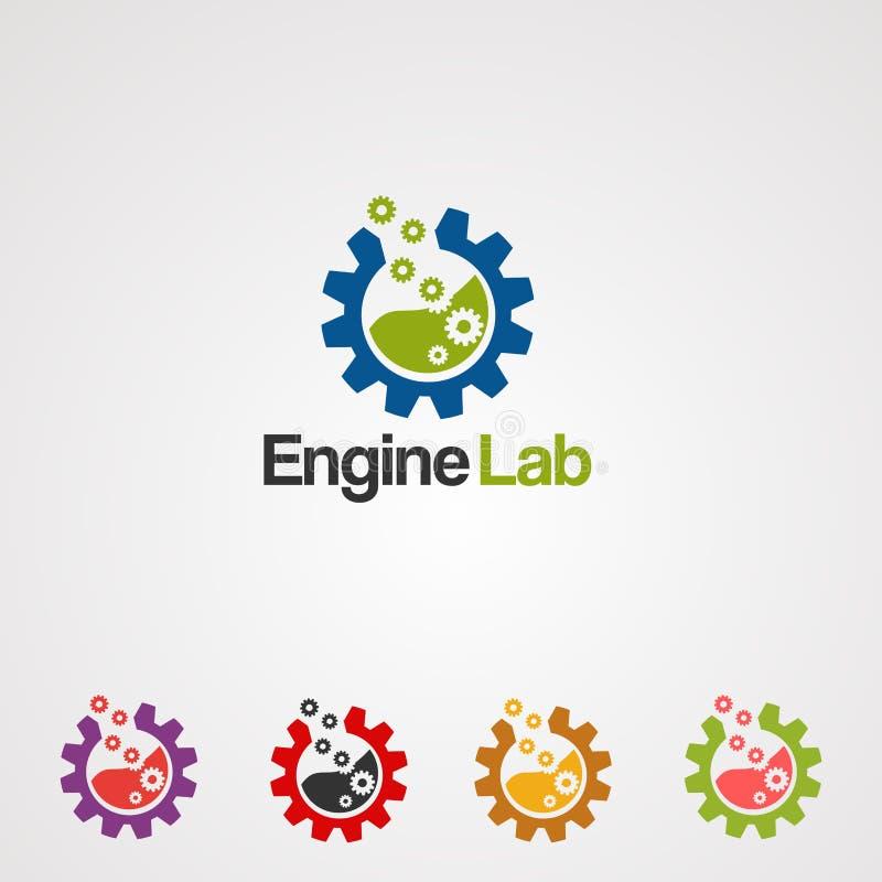Maschinenlabor mit modernem Konzeptsatzlogovektor, -ikone, -element und -schablone für Geschäft lizenzfreie abbildung