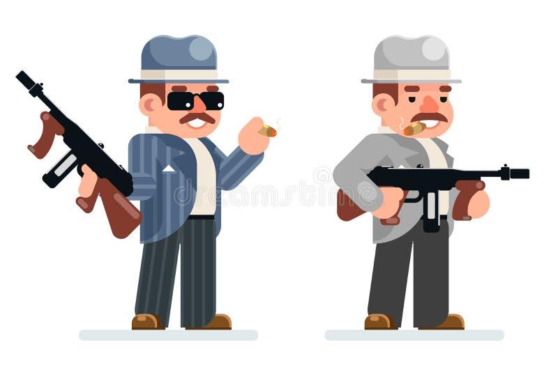 Maschinenpistoleverbrecherverbotmafiacharakterikone des Gangsters Design-Vektorillustration der gefährlichen Retro- kriminellen f stock abbildung