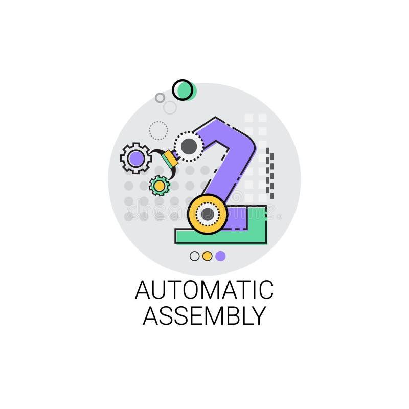 Maschinerie-industrielle Automatisierungs-Industrie-Produktions-Ikone der vollautomatischen Fertigung lizenzfreie abbildung