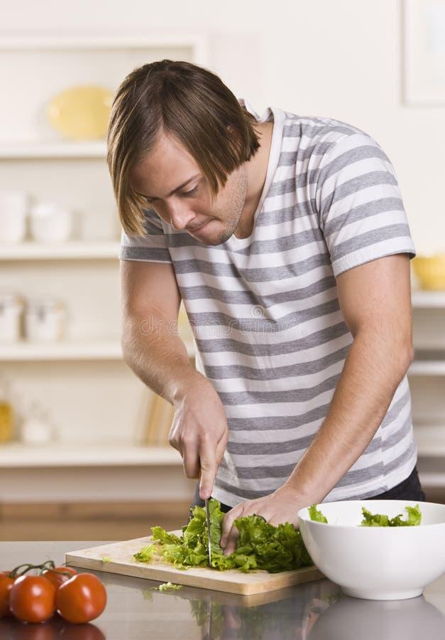 maschio attraente della lattuga di taglio immagine stock libera da diritti