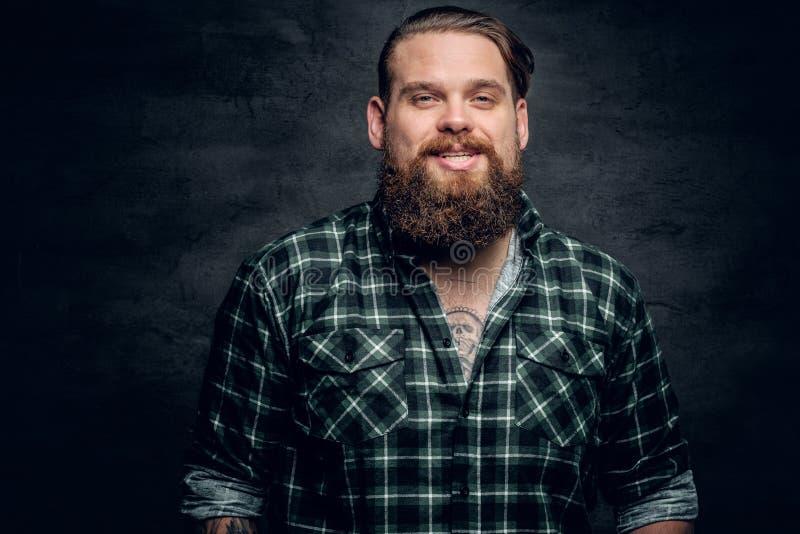 Maschio barbuto sorridente in una camicia di plaid verde fotografie stock