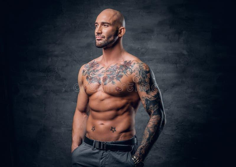 Maschio capo e muscolare raso con i tatuaggi sul suo torso sopra la v grigia fotografia stock