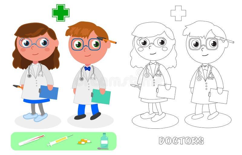 Maschio di medici e vettore femminile illustrazione di stock